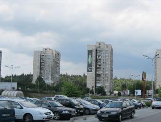 Мегаборд с изглед към паркинга на МОЛ Ст. Загора, Бриколаж и Технополис